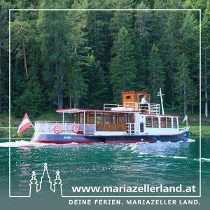 Erkunden Sie den Erlaufsee auf dem über hundert Jahre alten und völlig neu restaurierten Ausflugsschiff Christina. ⛵️